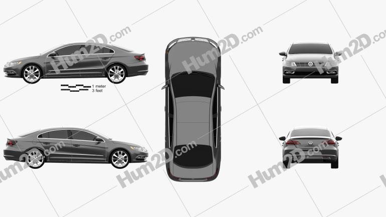 Volkswagen Passat CC 2013 Clipart Image