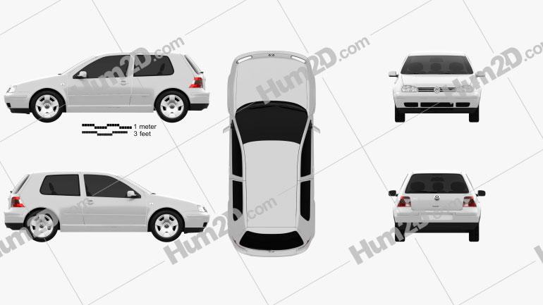Volkswagen Golf IV 3-türig 1997 Clipart Bild