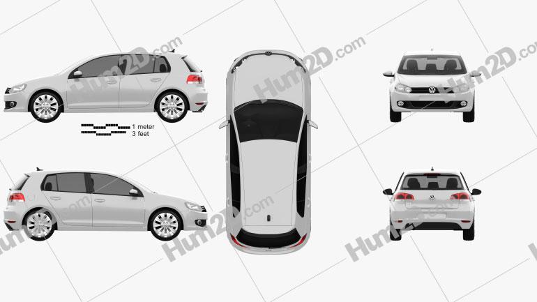 Volkswagen Golf 5-door 2009 Clipart Image