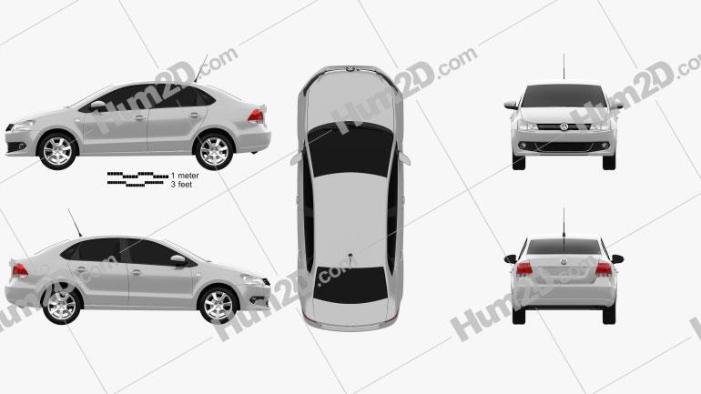 Volkswagen Polo sedan 2012 Clipart Image
