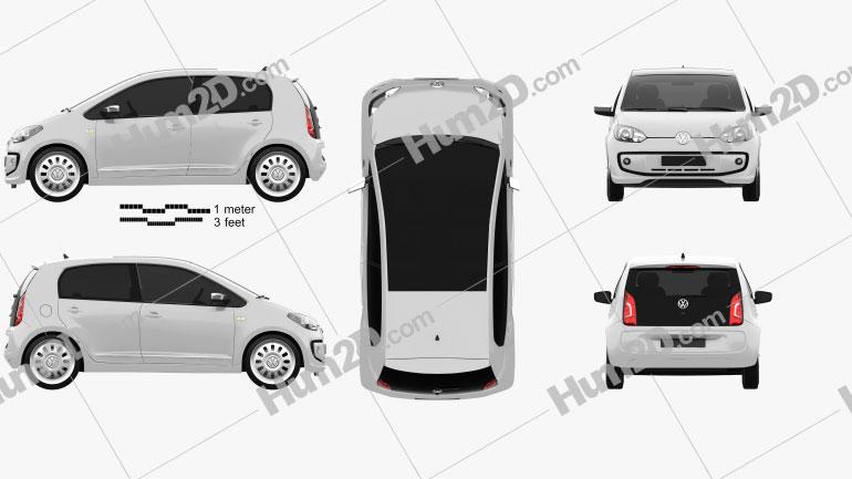 Volkswagen Up 5-door 2012 Clipart Image