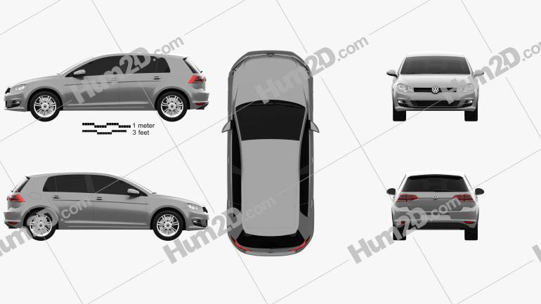Volkswagen Golf Mk7 5-door 2013 car clipart