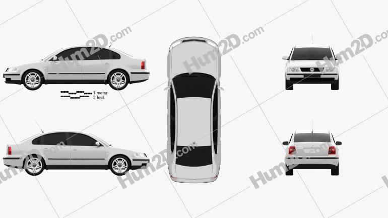 Volkswagen Passat B5 sedan 1997 Clipart Image