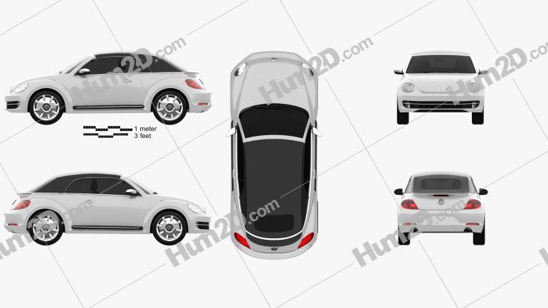 Volkswagen Beetle convertible 2013 Clipart Image