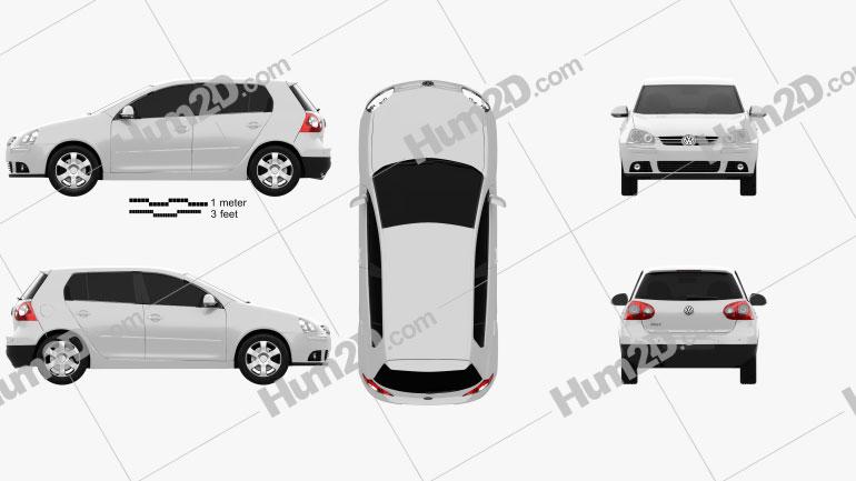 Volkswagen Golf Mk5 5-door 2004 Clipart Image