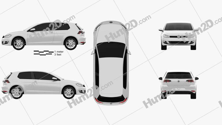 Volkswagen Golf Mk7 3-door 2013 Clipart Image