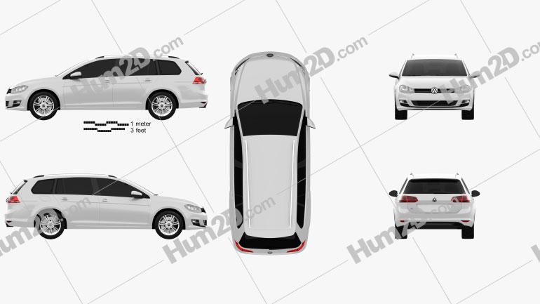 Volkswagen Golf Mk7 variant 2014 car clipart
