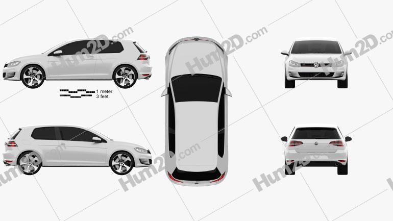 Volkswagen Golf 3-door GTI 2014 car clipart