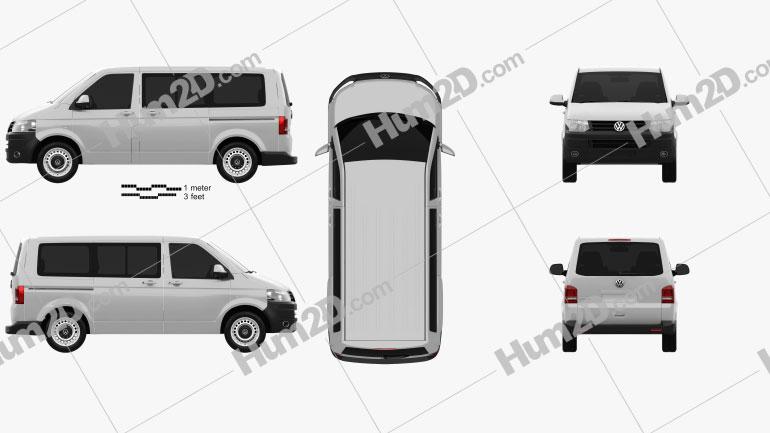 Volkswagen Transporter (T5) Kombi 2010 clipart