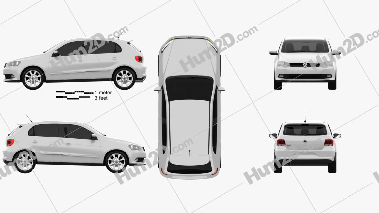 Volkswagen Gol 5-türig 2012 car clipart