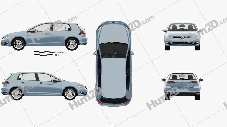 Volkswagen Golf 5-door with HQ interior 2013 car clipart