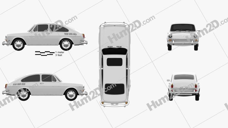 Volkswagen Type 3 (1600) fastback 1965 car clipart