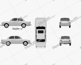 Volkswagen Type 3 (1600) sedan 1965 Clipart
