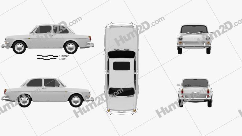Volkswagen Type 3 (1600) sedan 1965 Clipart Bild