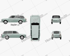 Volkswagen Type 3 (1600) variant 1965 car clipart