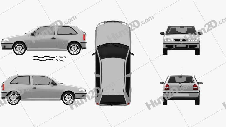 Volkswagen Gol 2003 Clipart Image