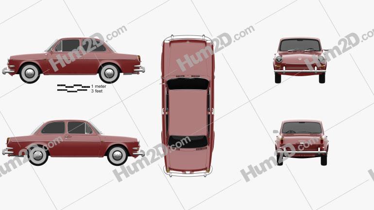 Volkswagen 1500 (Type 3) notchback 1961 Clipart Image