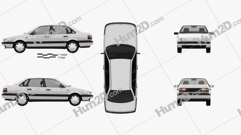 Volkswagen Passat (B3) sedan 1988 Clipart Image