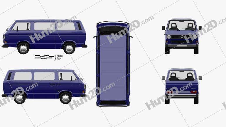 Volkswagen Transporter (T3) Passenger Van 1990 clipart