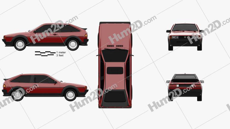 Volkswagen Scirocco 1986 car clipart