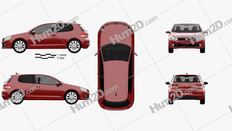 Volkswagen Golf 3-door 2009 Clipart Image