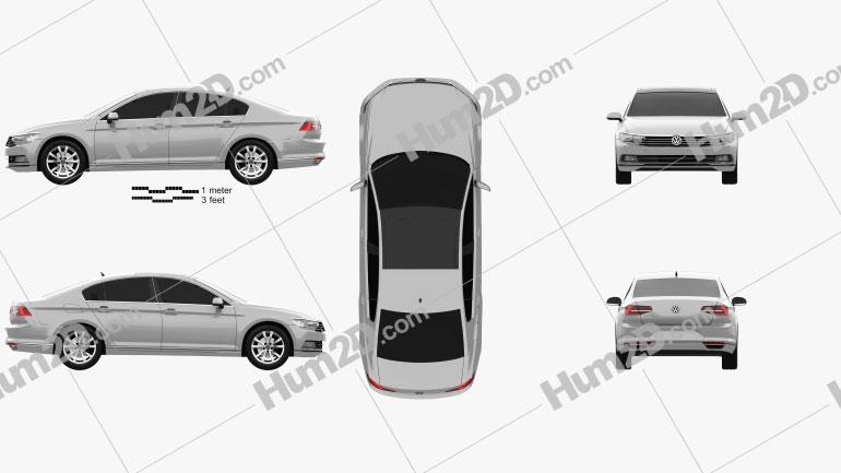 Volkswagen Passat (B8) sedan 2014 Clipart Image