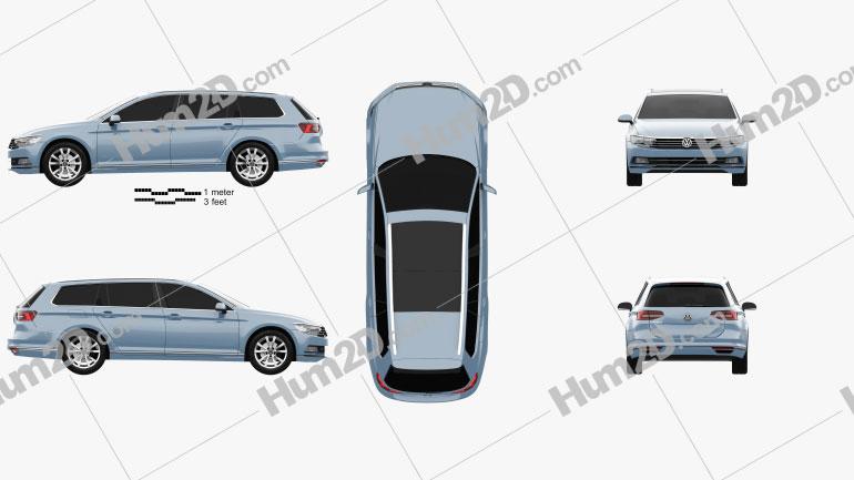 Volkswagen Passat (B8) variant 2014 car clipart