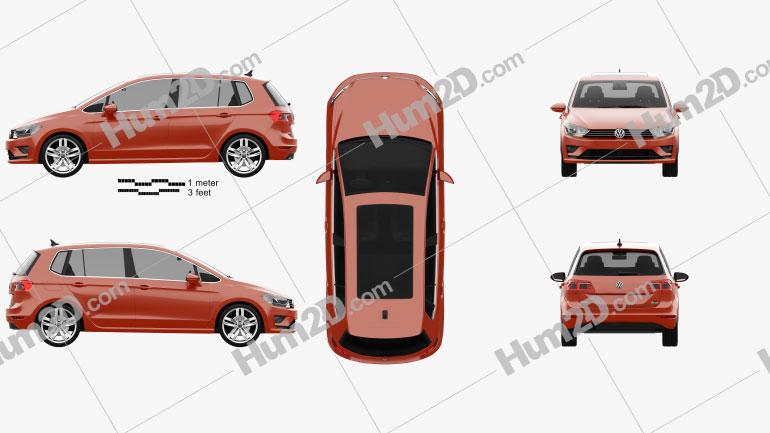 Volkswagen Golf Sportsvan 2014 Clipart Image