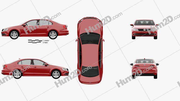 Volkswagen Jetta com interior HQ 2015 car clipart