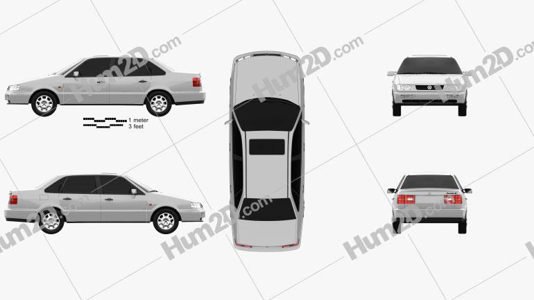 Volkswagen Passat (B4) sedan 1993 car clipart
