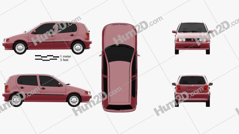 Volkswagen Polo 5-door 1994 Clipart Image