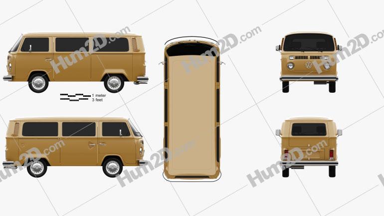 Volkswagen Transporter (T2) Passenger Van 1972 clipart