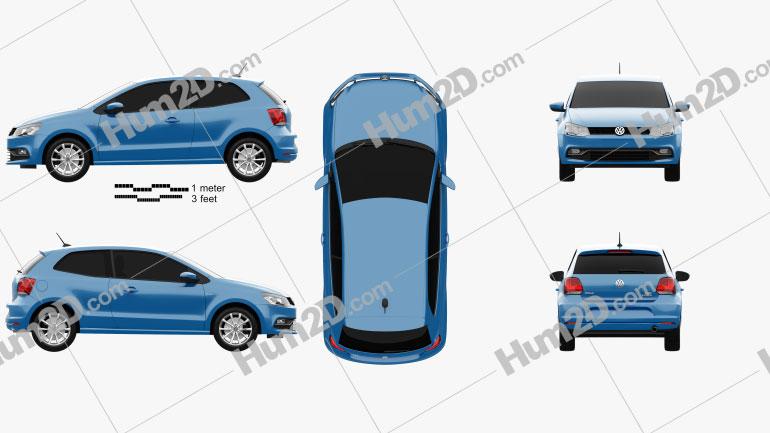 Volkswagen Polo 3-door 2014 car clipart