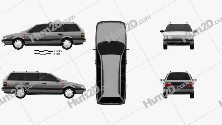 Volkswagen Passat (B3) variant 1988 car clipart