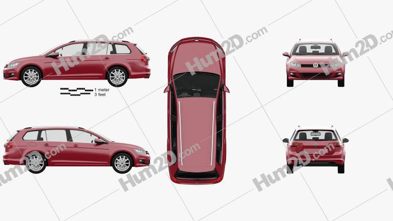 Volkswagen Golf variant com interior HQ 2014 car clipart