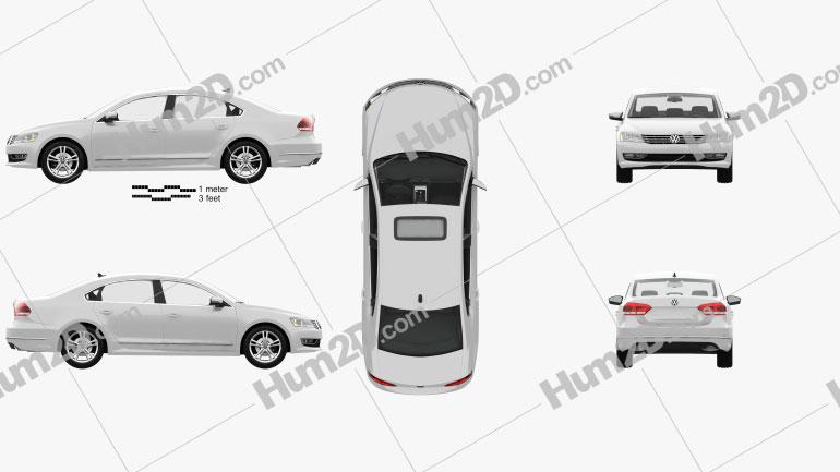 Volkswagen Passat (B7) with HQ interior 2011 car clipart