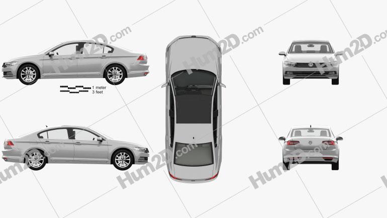 Volkswagen Passat (B8) sedan with HQ interior 2014 car clipart