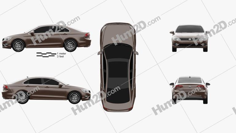 Volkswagen Lamando 2014 Clipart Image