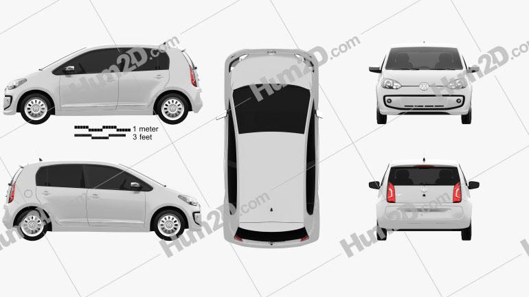 Volkswagen Up 5door BR-spec 2014 Clipart Image