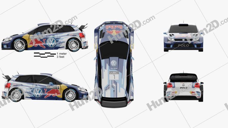 Volkswagen Polo R WRC Racecar 2015 Clipart Image