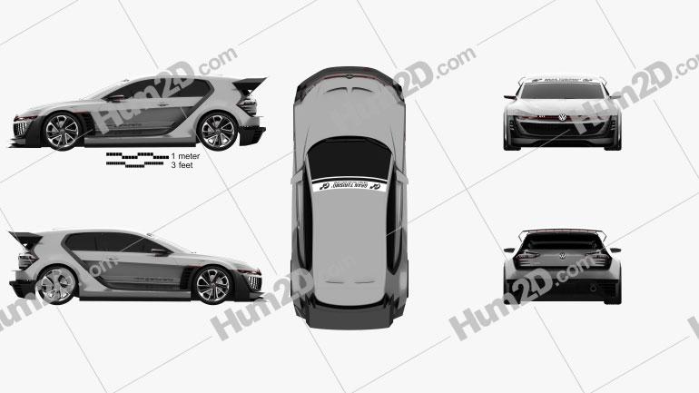 Volkswagen GTI Supersport Vision Gran Turismo 2014 car clipart