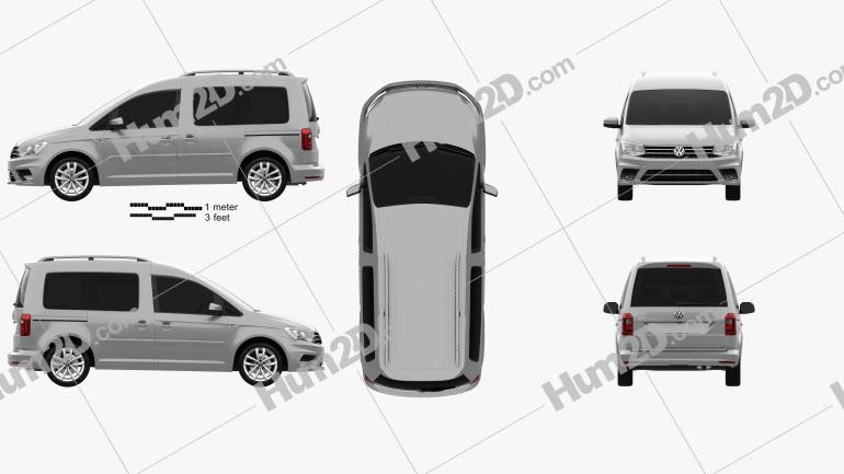 Volkswagen Caddy Highline 2015 clipart