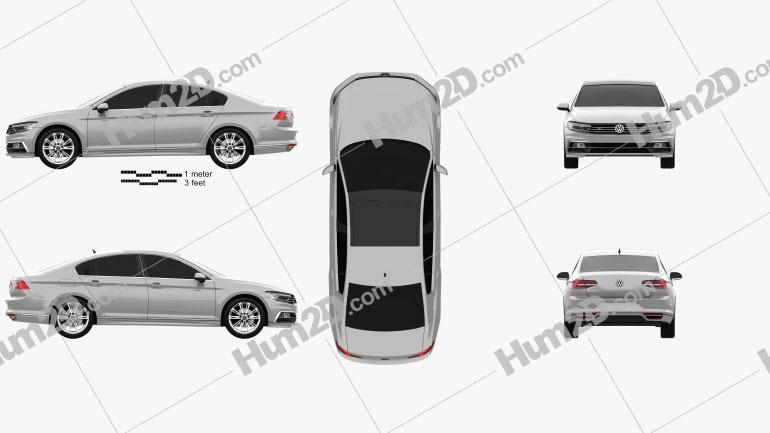 Volkswagen Passat R-line (B8) sedan 2015 car clipart