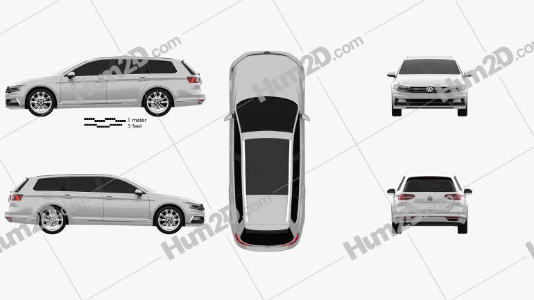 Volkswagen Passat (B8) variant R-Line 2015 Clipart Image