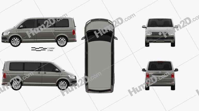 Volkswagen Transporter (T6) Multivan 2016 clipart