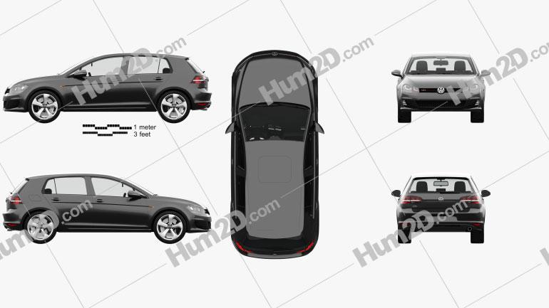 Volkswagen Golf GTI 5-door hatchback with HQ interior 2013 car clipart