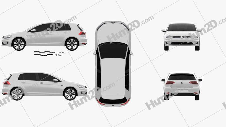 Volkswagen e-Golf 2015 Clipart Image