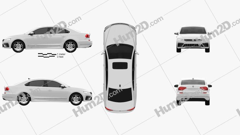 Volkswagen Passat (NMS) R-Line 2016 Clipart Image