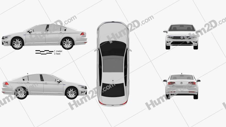 Volkswagen Passat (B8) sedan GTE 2015 car clipart