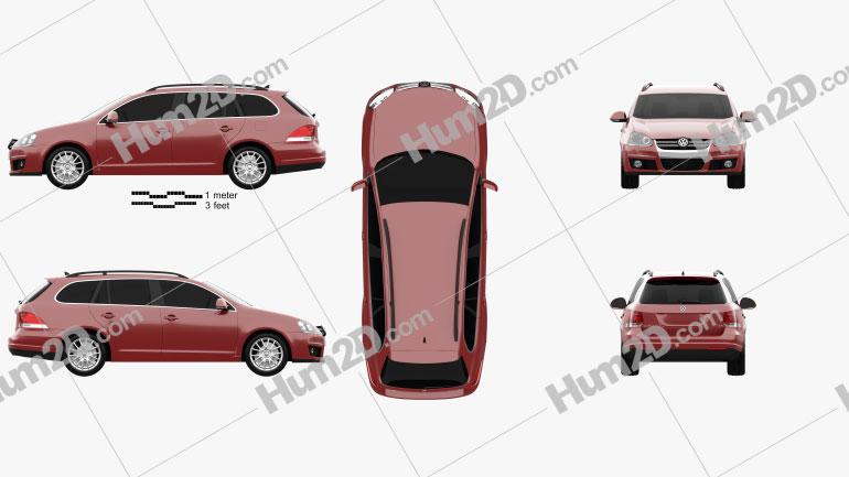 Volkswagen Golf Variant 2007 car clipart